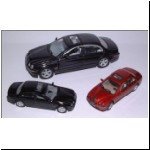 Jaguar S types - 1:43 scale by Hongwell (back) - 1:72 scale by Yatming (left) and Hongwell (right)